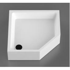 Akmens masės dušo padėklas F-90; 885x885 cm, penkiakampis, baltas