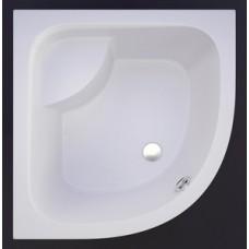Akmens masės dušo padėklas RD-90; 90x90 cm, pusapvalis, gilus, H-51, R-550, baltas