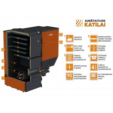 "Granulinis katilas 100 kW, komplekte su 100 kW ""Zenono"" degikliu, 800 l bunkeriu"