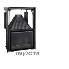 Ketinis židinio ugniakuras Invicta 800 su tiesiu, tonuotu, kontrsvoriais pakeliamu stiklu
